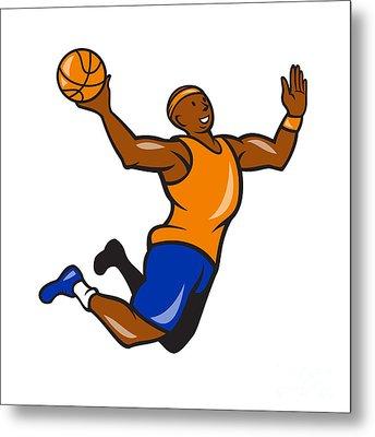 Basketball Player Dunking Ball Cartoon Metal Print by Aloysius Patrimonio