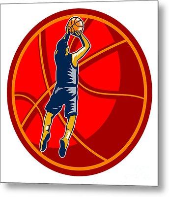 Basketball Player Jump Shot Ball Woodcut Retro Metal Print by Aloysius Patrimonio