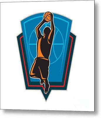 Basketball Player Rebounding Ball Shield Retro Metal Print by Aloysius Patrimonio