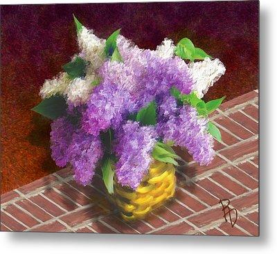 Basketful Of Lilacs Metal Print by Ric Darrell