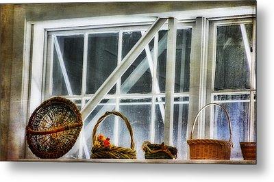 Baskets In The Window Metal Print by Joan Bertucci