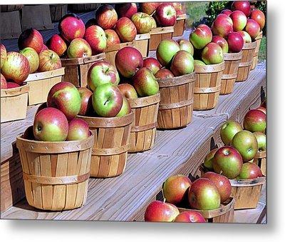 Baskets Of Apples Metal Print by Janice Drew