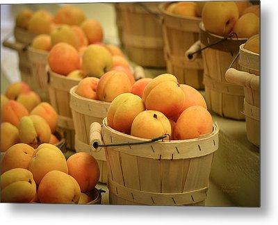 Baskets Of Apricots Metal Print by Julie Palencia