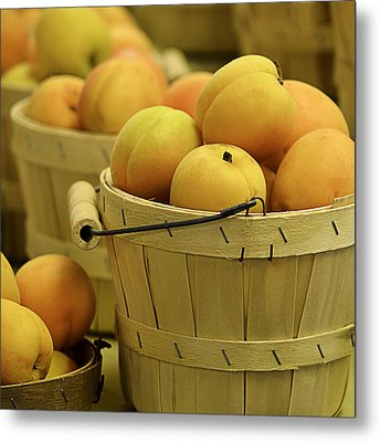 Baskets Of Apricots Squared Metal Print by Julie Palencia