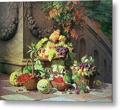 Baskets Of Summer Fruits Metal Print by William Hammer