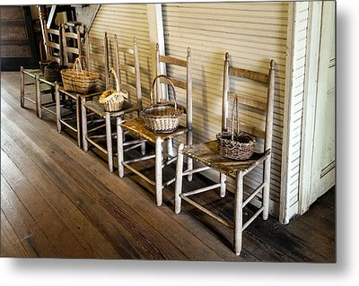 Baskets On Ladder Back Chairs Metal Print by Lynn Palmer