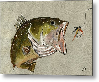 Bass Fish Fly Metal Print