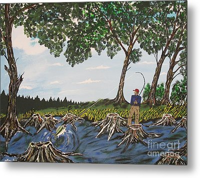 Bass Fishing In The Stumps Metal Print by Jeffrey Koss