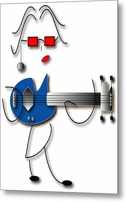 Metal Print featuring the digital art Bass Guitar Girl by Marvin Blaine