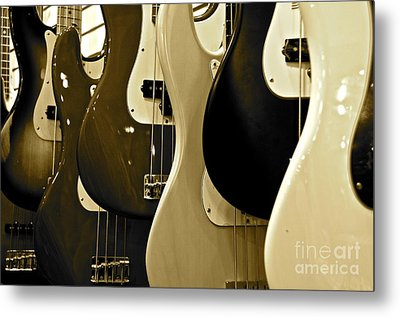 Bass Guitars  Metal Print by Sarah Mullin