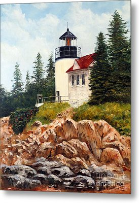 Metal Print featuring the painting Bass Harbor Head Light by Lee Piper