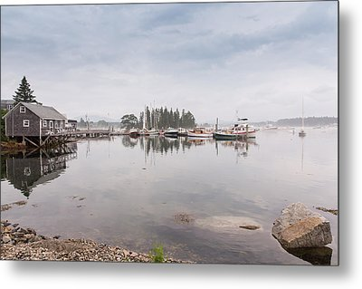 Bass Harbor In The Morning Fog Metal Print
