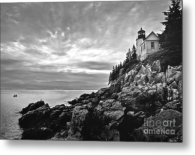 Bass Harbor Lighthouse At Dusk Metal Print by Diane Diederich