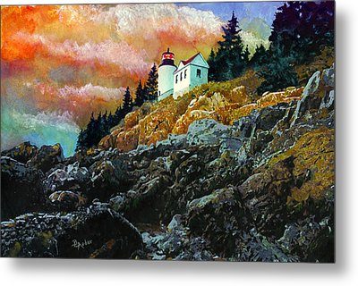 Bass Harbor Lighthouse Sunset Metal Print by Brent Ander