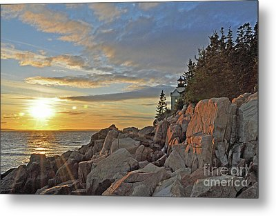 Metal Print featuring the photograph Bass Harbor Lighthouse Sunset Landscape by Glenn Gordon