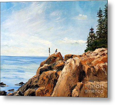 Metal Print featuring the painting Bass Harbor Rocks by Lee Piper