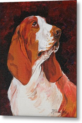 Basset Called Mary Metal Print by Janina  Suuronen