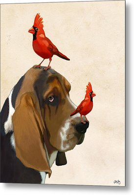 Basset Hound And Red Birds Metal Print by Kelly McLaughlan