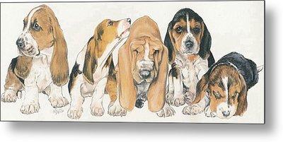 Basset Hound Puppies Metal Print by Barbara Keith