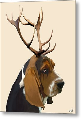 Basset Hound With Antlers Metal Print by Kelly McLaughlan