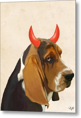 Basset Hound With Devil Horns Metal Print by Kelly McLaughlan