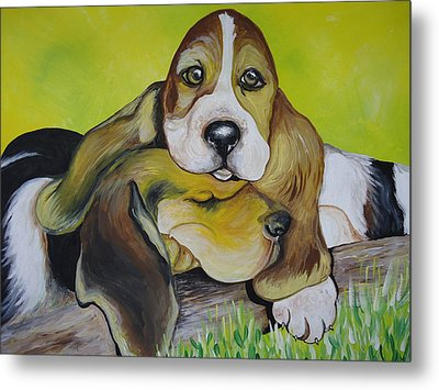 Bassett Hound Pups Metal Print by Leslie Manley