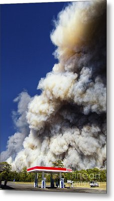 Bastrop Burning Exxon Metal Print by Richard Mason