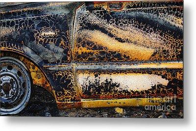 Bastrop Burning Vehicle 1 Metal Print by Richard Mason