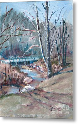 Walking The Greenway Metal Print by Janet Felts