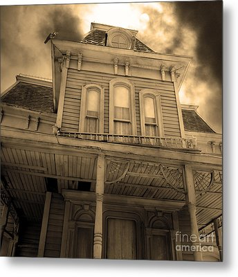 Bates Motel 5d28867 Square Sepia V2 Metal Print by Wingsdomain Art and Photography