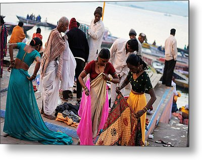 Bath At Ghat Metal Print by Money Sharma