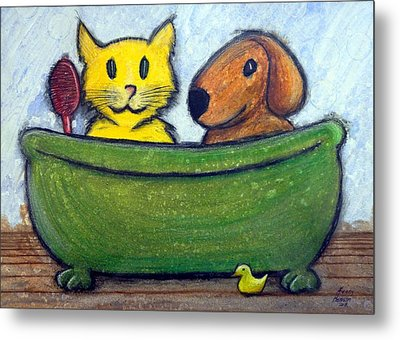 Metal Print featuring the mixed media Bath Friends by Kenny Henson