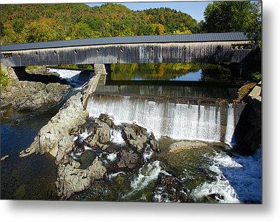 Bath Haverhill Covered Bridge In Autumn Metal Print