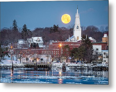 Bath Maine Moon Metal Print