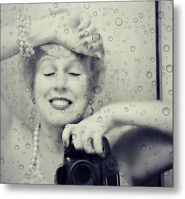 Bath Mirror Metal Print by Diana Angstadt