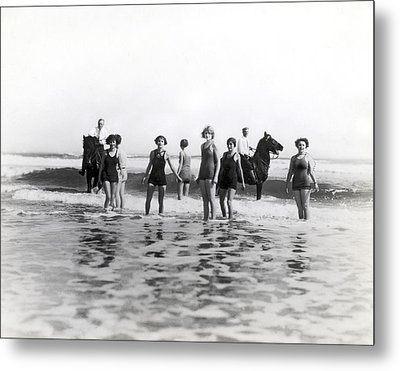 Bathers And Horses In The Surf Metal Print by Underwood & Underwood