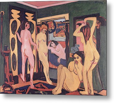 Bathers In A Room Metal Print by Ernst Ludwig Kirchner