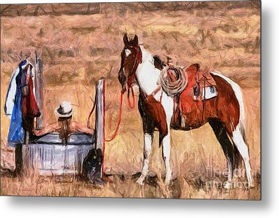 Bathing Cowgirl Metal Print by Murphy Elliott