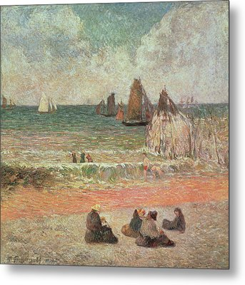 Bathing Dieppe Metal Print by Paul Gauguin