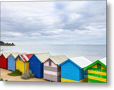 Bathing Huts Brighton Beach Melbourne Australia Metal Print by Colin and Linda McKie