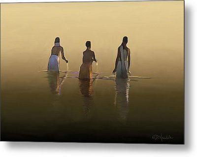 Bathing In The Holy River By Dominique Amendola Metal Print by Dominique Amendola