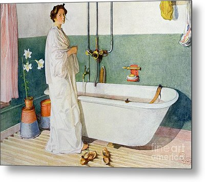 Bathroom Scene Lisbeth Metal Print by Carl Larsson