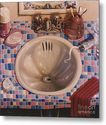 Bathroom Sink 1991  Skewed Perspective Series 1991 - 2000 Metal Print by Larry Preston