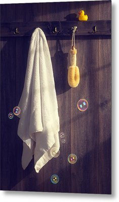 Bathroom Towel Metal Print by Amanda Elwell