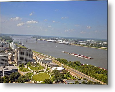 Baton Rouge's Mississippi River Metal Print by Helen Haw