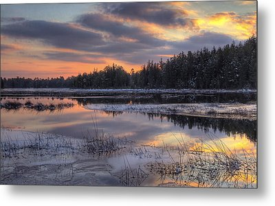 Batsto Lake Sunset 2 Metal Print by Greg Vizzi