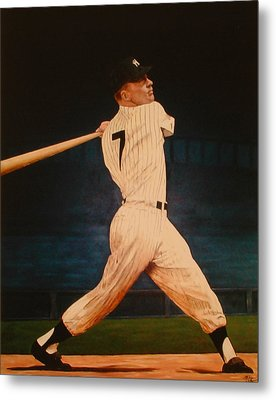 Batting Practice - Mickey Mantle Metal Print