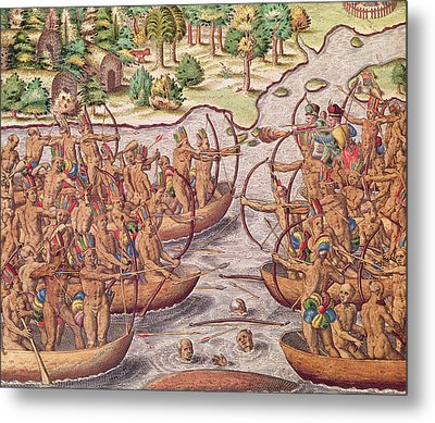 Battle Between Indian Tribes Metal Print by Jacques Le Moyne