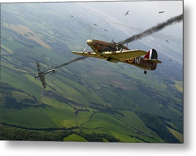 Battle Of Britain Dogfight Metal Print by Gary Eason