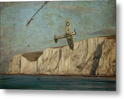 Metal Print featuring the painting Battle Of Britain Over Dover by Nop Briex